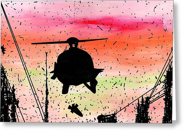 Outsider Drawings Greeting Cards - Post Apocalyptic Helicopter Skyline Greeting Card by Jera Sky