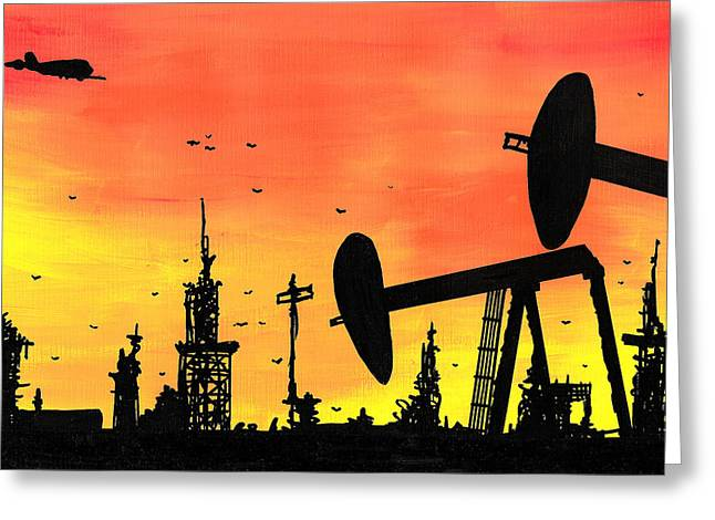 Horror Drawings Greeting Cards - Post Apocalyptic Oil Skyline Greeting Card by Jera Sky
