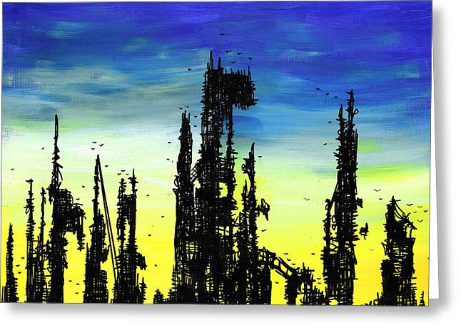 Outsider Drawings Greeting Cards - Post Apocalyptic Skyline 2 Greeting Card by Jera Sky