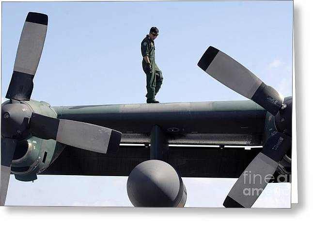 C-130 Hercules Greeting Cards - Post Flight Maintenance On A C-130 Greeting Card by Stocktrek Images