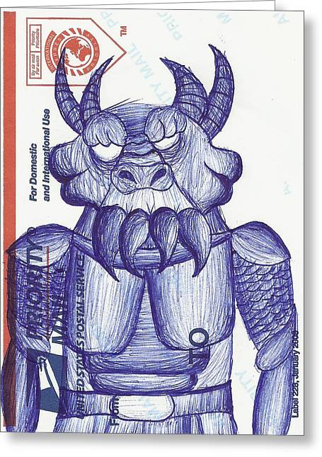 Postal Drawings Greeting Cards - Postal Monster Greeting Card by Colin Yeo