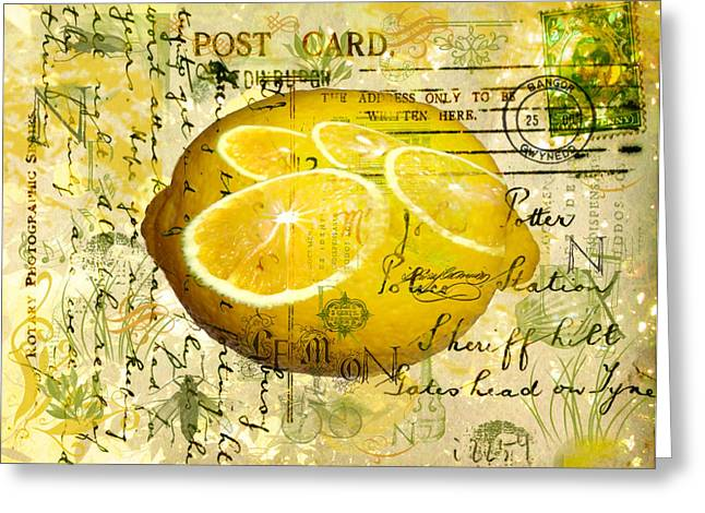 Sarah Vernon Greeting Cards - Postcard Lemons Greeting Card by Sarah Vernon