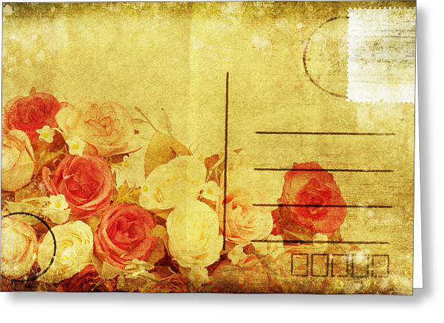 Flower Blossom Greeting Cards - Postcard With Floral Pattern Greeting Card by Setsiri Silapasuwanchai