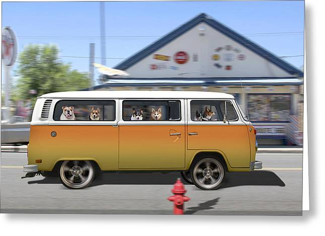 Funny Dog Digital Greeting Cards - Postcards from Otis - Road Trip  Greeting Card by Mike McGlothlen