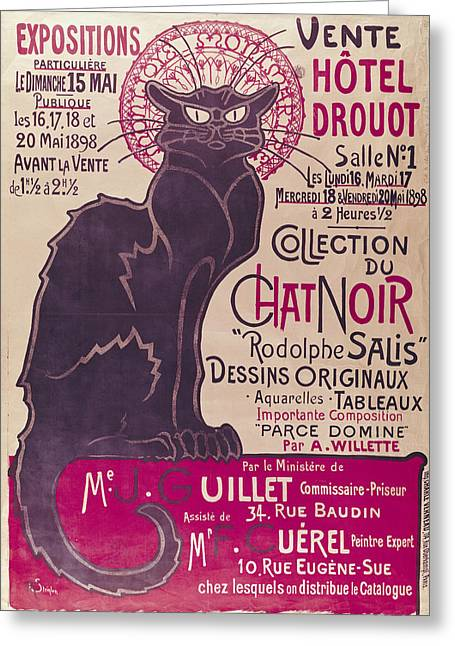 Whisker Greeting Cards - Poster advertising an exhibition of the Collection du Chat Noir cabaret Greeting Card by Theophile Alexandre Steinlen