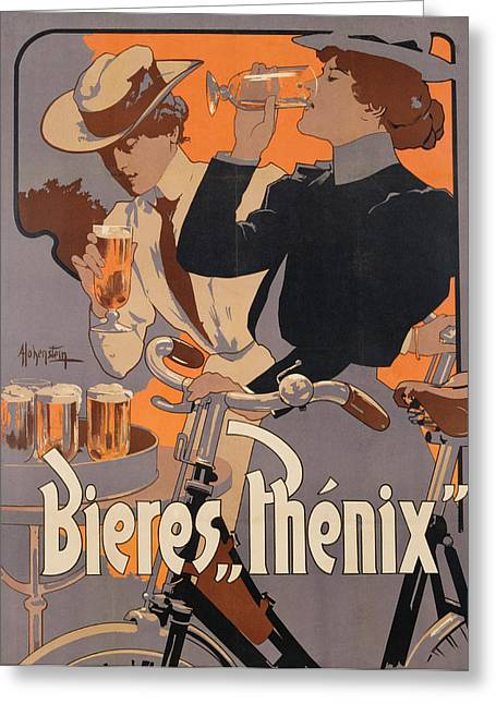 Beer Paintings Greeting Cards - Poster advertising Phenix beer Greeting Card by Adolf Hohenstein