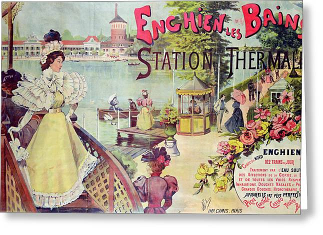 Posters Of Women Greeting Cards - Poster advertising Spa Resort  Greeting Card by French School