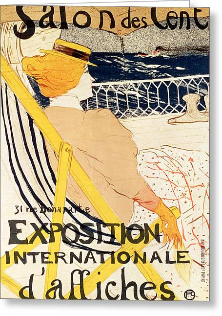 Cruise Ship Greeting Cards - Poster advertising the Exposition Internationale dAffiches Paris Greeting Card by Henri de Toulouse-Lautrec