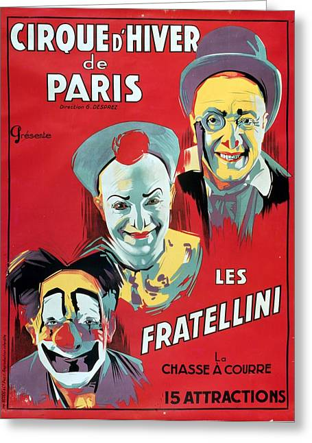 Francois Paintings Greeting Cards - Poster advertising the Fratellini Clowns Greeting Card by French School