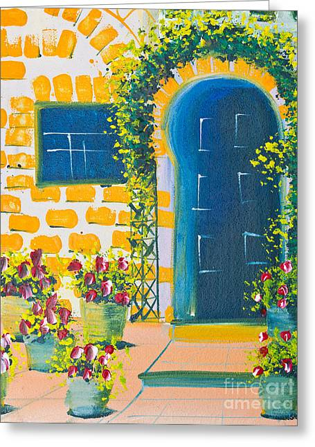 Poster Color Drawing Door And Flowers Greeting Card by Mongkol Chakritthakool