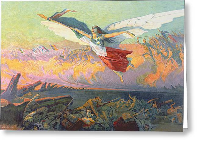 Wwi Paintings Greeting Cards - Poster for the National Loan Greeting Card by Michel Richard-Putz