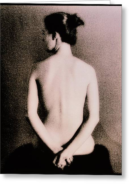 Healthy Body Greeting Cards - Posterior View Of The Torso Of A Seated Woman Greeting Card by Cristina Pedrazzini