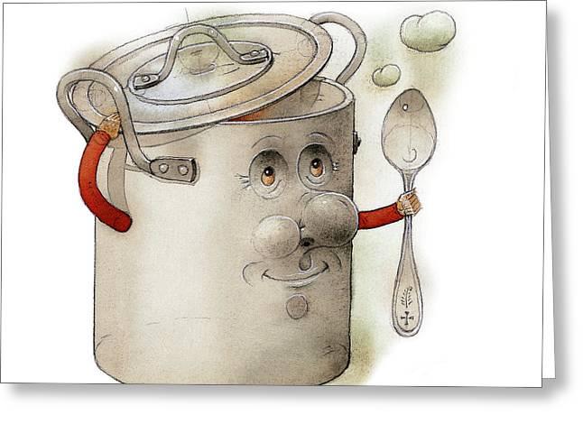 Pot Drawings Greeting Cards - Pot Greeting Card by Kestutis Kasparavicius