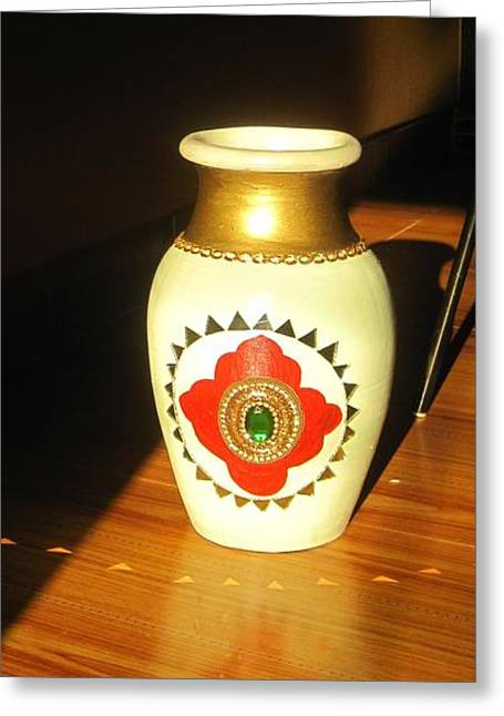Sunlight On Pots Greeting Cards - Pot with Glass Work Greeting Card by Xafira Mendonsa