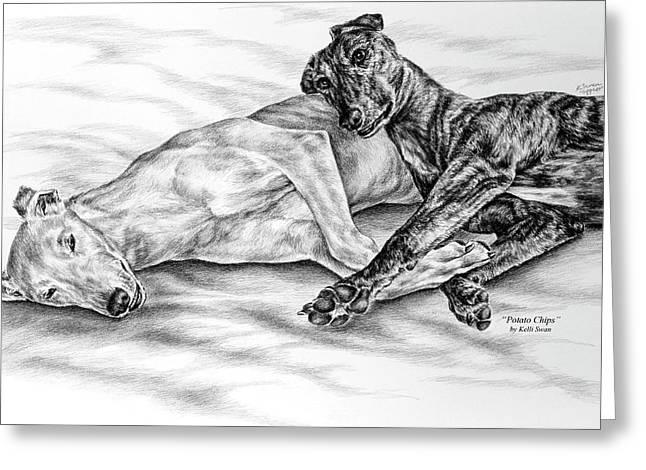 Greyhound Dog Greeting Cards - Potato Chips - Two Greyhound Dogs Print Greeting Card by Kelli Swan