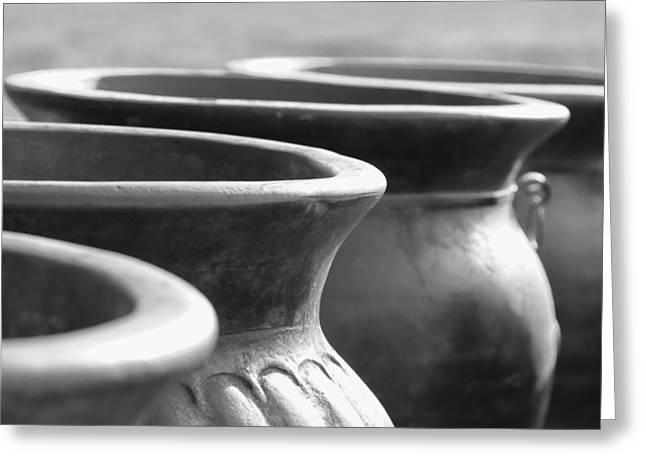 Hand Thrown Pottery Greeting Cards - Pots in Black and White Greeting Card by Kathy Clark