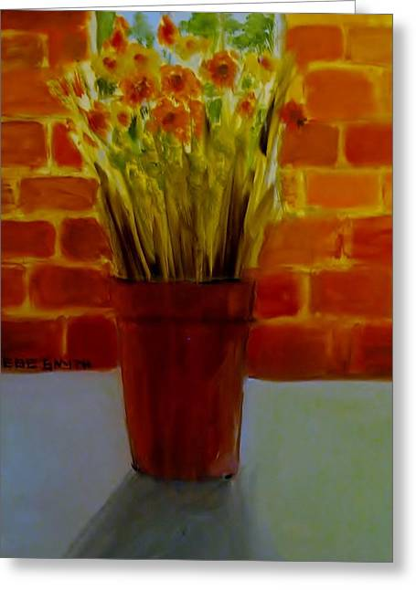 Flower Still Life Prints Greeting Cards - Potted Flowers Greeting Card by Phebe Smith