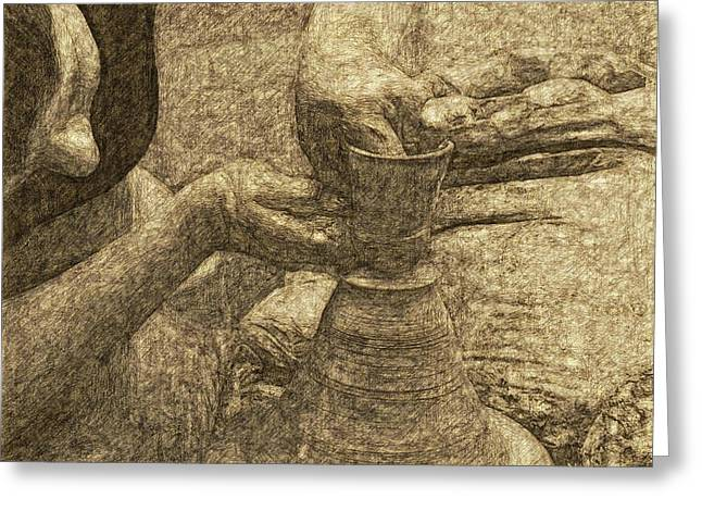 Pottery Greeting Cards - Potter in pencil drawing style Greeting Card by James Stanfield