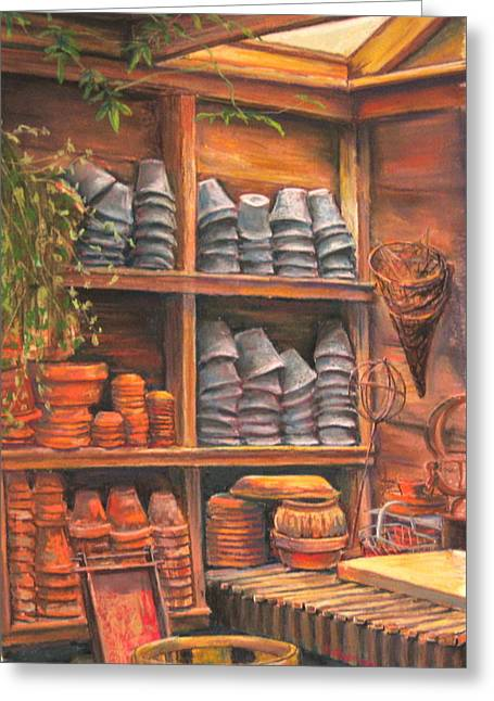Sheds Pastels Greeting Cards - Potting Shed Greeting Card by Sam Pearson