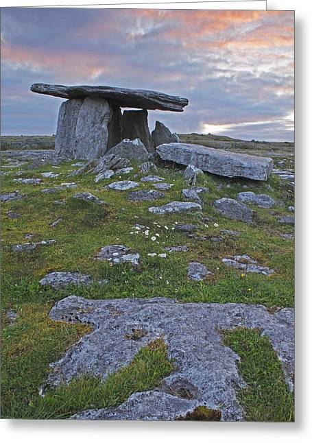 County Clare Greeting Cards - Poulnabrone Grave Site In The Burren Greeting Card by Trish Punch