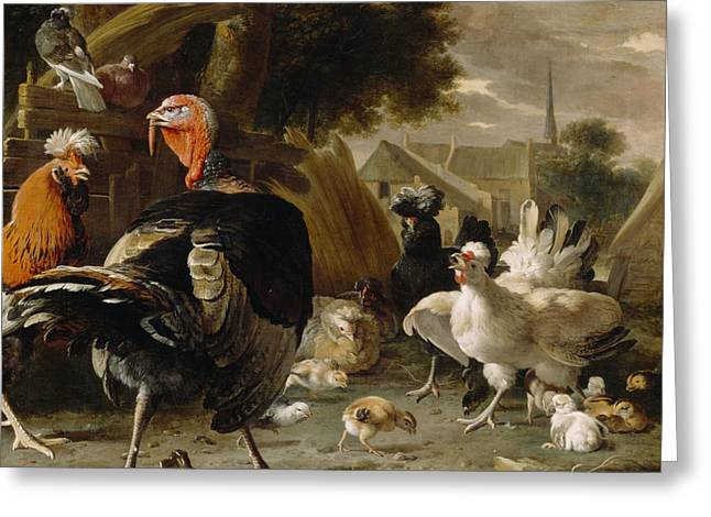 Rooster Greeting Cards - Poultry Yard Greeting Card by Melchior de Hondecoeter