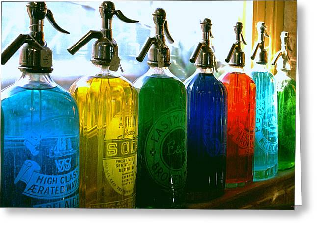 Bars Greeting Cards - Pour Me a Rainbow Greeting Card by Holly Kempe