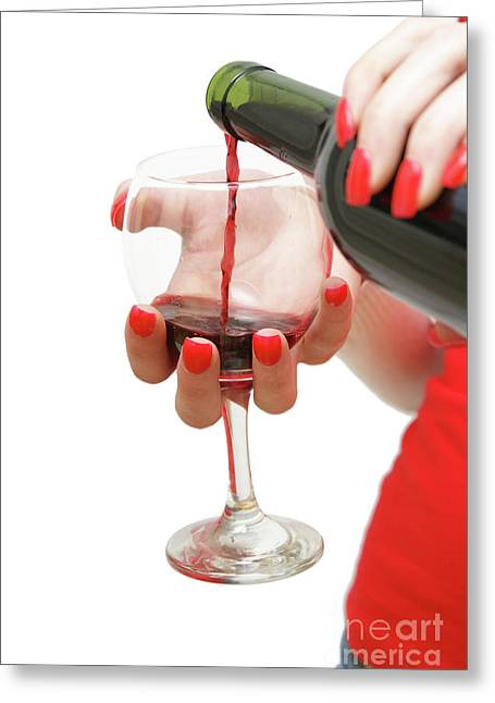 Pouring Wine Greeting Cards - Pouring a Glass of Wine Greeting Card by Matthew Benoit