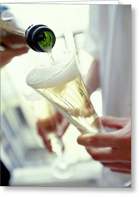 Sparkling Wine Greeting Cards - Pouring Champagne Greeting Card by David Munns