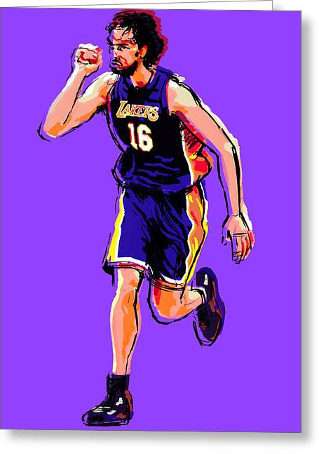Lakers Digital Art Greeting Cards - Pow Greeting Card by Jack Perkins