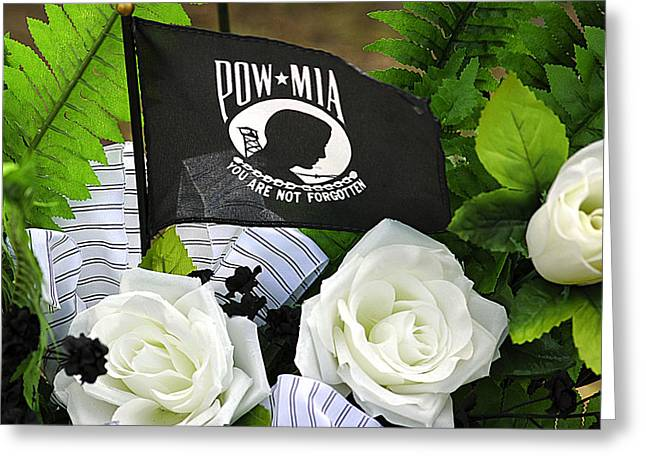 Missing Greeting Cards - Pow-mia Greeting Card by Carolyn Marshall