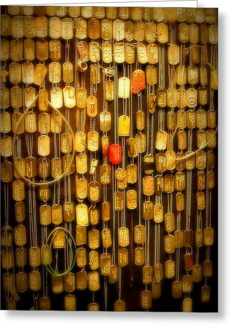 Gold Necklace Greeting Cards - POW Tags Greeting Card by Cindy Wright