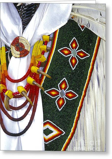 Orange Earrings Greeting Cards - Pow Wow Ceremonial Regalia Greeting Card by Gordon Wood