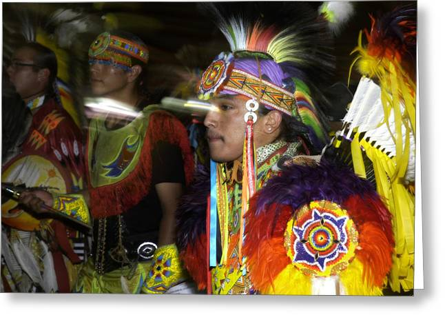Fancy-dancer Greeting Cards - Pow wow dancer -1 Greeting Card by Angelito De Jesus