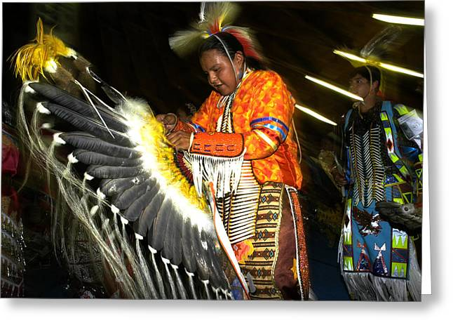 Fancy-dancer Greeting Cards - Pow Wow dancer -4 Greeting Card by Angelito De Jesus
