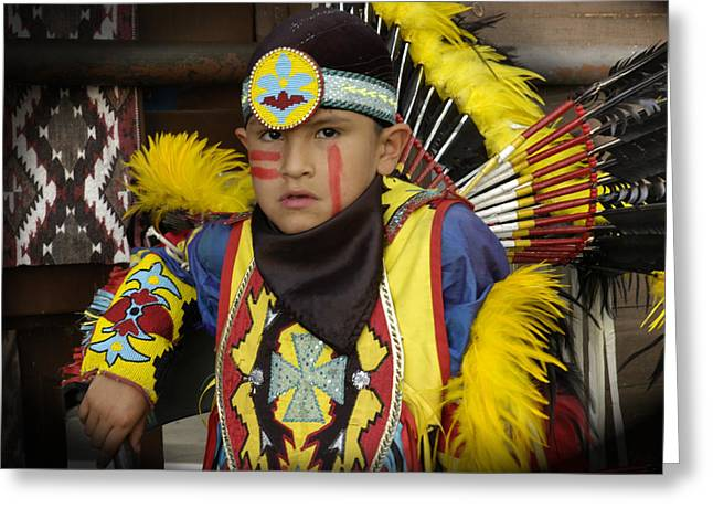 Fancy-dancer Greeting Cards - Pow Wow Dancer Resting Greeting Card by Angelito De Jesus