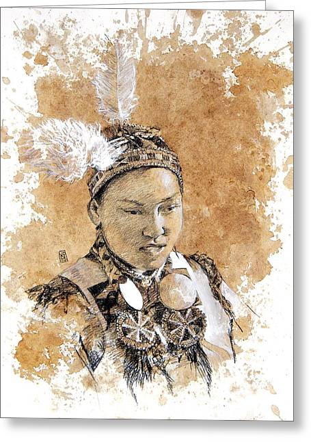Pow Wow Girl Greeting Card by Debra Jones
