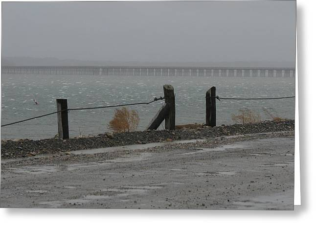 Best Sellers -  - Storm Clouds Cape Cod Greeting Cards - Powder Point Bridge Greeting Card by Brian Mazzoli