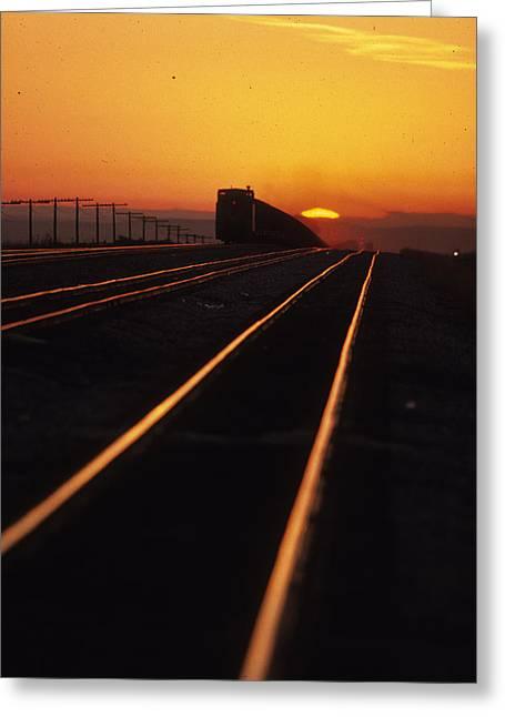 Powder River Sunset Caboose Greeting Card by Susan  Benson