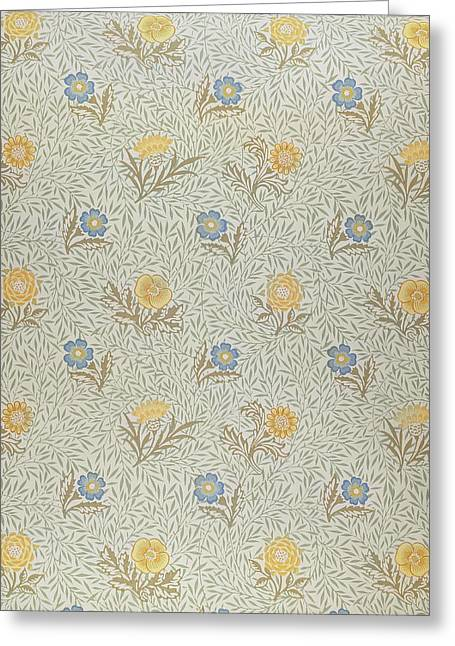 Leafs Tapestries - Textiles Greeting Cards - Powdered Greeting Card by Wiliam Morris