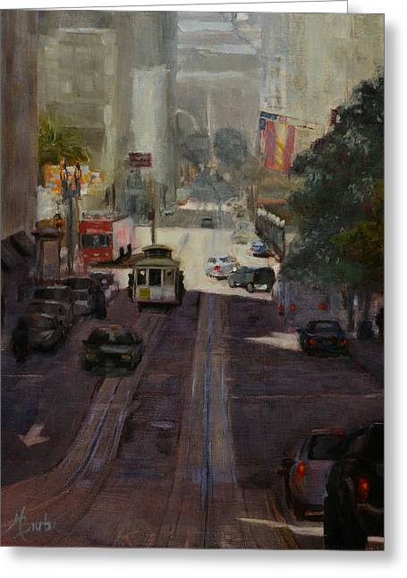 Union Square Greeting Cards - Powell Street Morning Greeting Card by Heather Burton