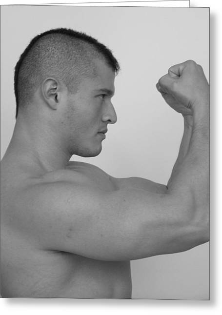 Muscleman Greeting Cards - Power and Muscle Greeting Card by Jake Hartz