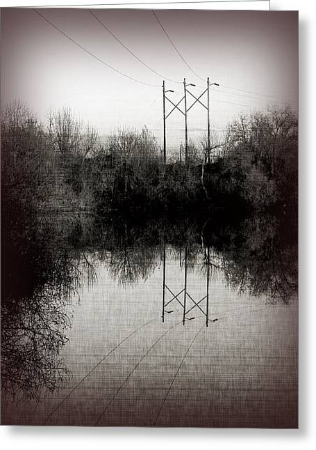 Telephone Wires Greeting Cards - Power Greeting Card by Bonnie Bruno