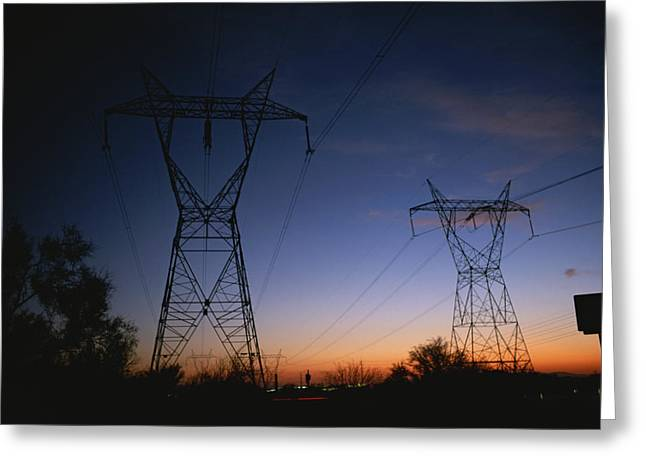 Hardware Greeting Cards - Power Lines And Towers Silhouetted Greeting Card by Taylor S. Kennedy
