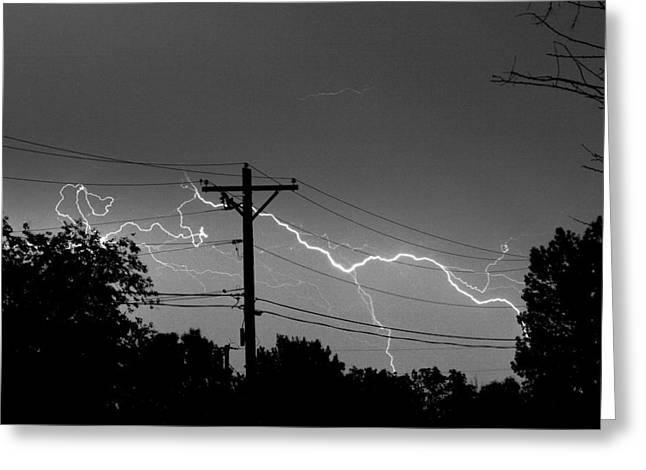 Lightning Landscapes Greeting Cards - Power Lines BW Fine Art Photo Print Greeting Card by James BO  Insogna