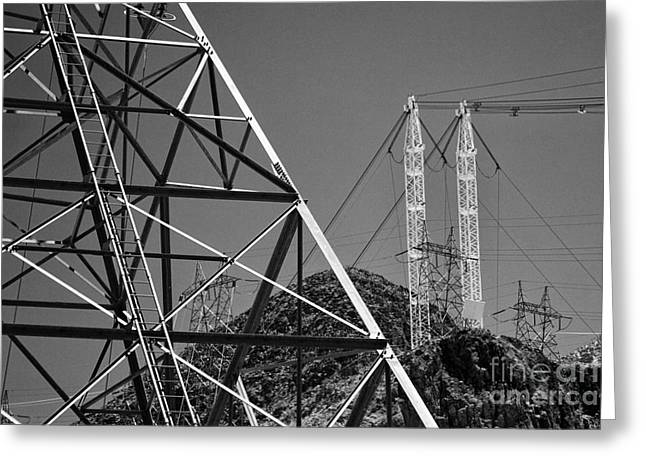 Power Plants Greeting Cards - Power lines Greeting Card by Hideaki Sakurai