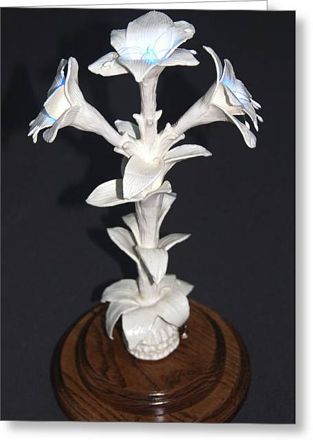 Light Sculptures Greeting Cards - Power of Flower  Greeting Card by Yelena Rubin