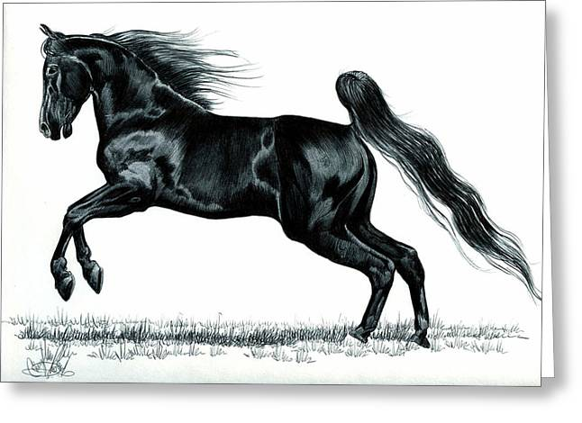 Pen And Ink Drawing Greeting Cards - Power of the Hind Quarter Greeting Card by Cheryl Poland
