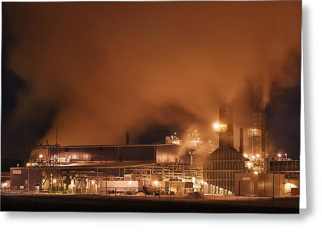 Harmful Greeting Cards - Power Plant At Night, Alberta, Canada Greeting Card by Philippe Widling