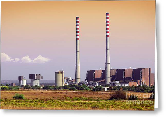 Polluting Greeting Cards - Power Plant Greeting Card by Carlos Caetano