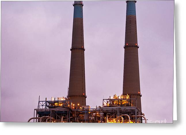 Moss Landing California Greeting Cards - Power Plant Towers at Dusk Greeting Card by David Buffington